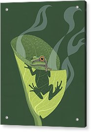 Pacific Tree Frog In Skunk Cabbage Acrylic Print by Nathan Marcy