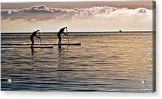 Paddle Surfing Acrylic Print by Eva Kondzialkiewicz