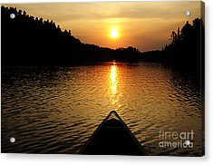 Paddling Off Into The Sunset Acrylic Print by Larry Ricker