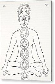 Padmasana Or Lotus Position Acrylic Print by English School