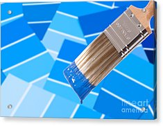 Paint Brush - Blue Acrylic Print by Amanda And Christopher Elwell