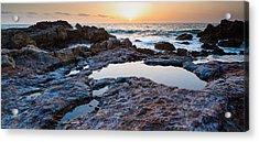 Painted Rocks At Golden Cove Acrylic Print by Adam Pender