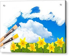 Painting Daffodils Acrylic Print by Amanda And Christopher Elwell