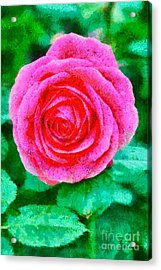 Painting Of A Rose Acrylic Print by George Atsametakis