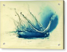 Painting Of Fresh Water Splash Acrylic Print by Michal Bednarek