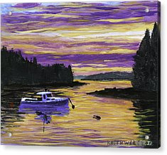 Lobster Boat In Port Clyde Maine At Sunset Acrylic Print by Keith Webber Jr