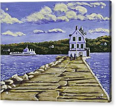 Rockland Breakwater Lighthouse In Maine Acrylic Print by Keith Webber Jr