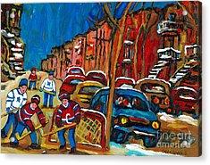 Paintings Of Montreal Hockey City Scenes Acrylic Print by Carole Spandau