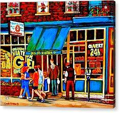Paintings Of Montreal Memories Bagel And Bread Shop St. Viateur Boulangerie Depanneur City Scenes Acrylic Print by Carole Spandau