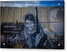 Palestinian Graffiti Acrylic Print by David Morefield