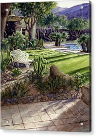 Palm Springs Backyard Acrylic Print by Janet King