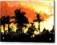 Palms See Red Acrylic Print by Florene Welebny