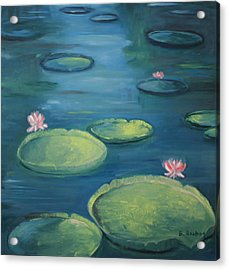 Pamplemousse Water Lilies Acrylic Print by Brigitte Roshay