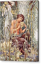 Pan Playing His Pipes Acrylic Print by Walter Crane
