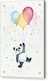 Panda Floating With Balloons Acrylic Print by Olga Shvartsur