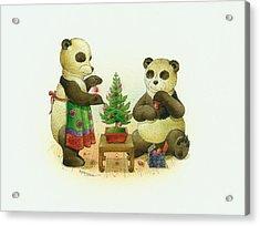 Pandabears Cristmas 02 Acrylic Print by Kestutis Kasparavicius