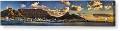 Panorama Cape Town Harbour At Sunset Acrylic Print by David Smith