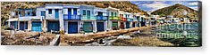 Panorama Of Tiny Colorful Fishing Huts In Milos Acrylic Print by David Smith