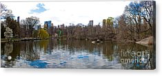 Panorama Of The Lake Of Central Park New York City Acrylic Print by Thomas Marchessault