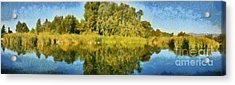 Panoramic Painting Of Ducks Lake Acrylic Print by George Atsametakis