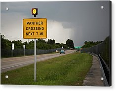 Panther Warning Sign Acrylic Print by Jim West
