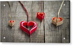 Paper Hearts Acrylic Print by Aged Pixel