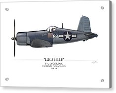 Pappy Boyington F4u Corsair - White Background Acrylic Print by Craig Tinder