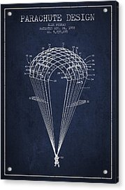 Parachute Design Patent From 1998 - Navy Blue Acrylic Print by Aged Pixel