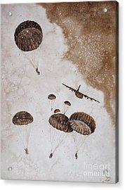 Paratroopers Acrylic Print by Zaira Dzhaubaeva