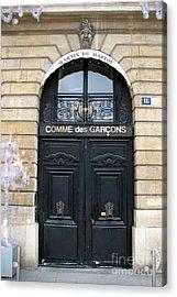 Paris Door Art - Paris Black And Gold Door Architecture - Paris Mens Clothing Shop Door Art Acrylic Print by Kathy Fornal
