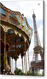 Paris Eiffel Tower Carousel Merry Go Round - Paris Carousels Champ Des Mars Eiffel Tower  Acrylic Print by Kathy Fornal