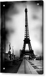 Paris Eiffel Tower - Surreal Black And White Paris Eiffel Tower Photography Acrylic Print by Kathy Fornal