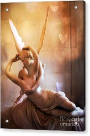 Paris Eros And Psyche Louvre Museum- Musee Du Louvre Angel Sculpture - Paris Angel Art Sculptures Acrylic Print by Kathy Fornal