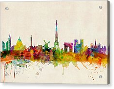 Paris France Skyline Panoramic Acrylic Print by Michael Tompsett