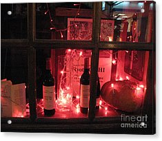 Paris Holiday Christmas Wine Window Display - Paris Red Holiday Wine Bottles Window Display  Acrylic Print by Kathy Fornal