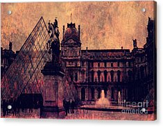 Paris Louvre Museum - Musee Du Louvre - Louvre Pyramid  Acrylic Print by Kathy Fornal
