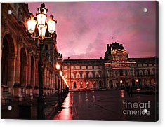 Paris Louvre Museum Night Architecture Street Lamps - Paris Louvre Museum Lanterns Night Lights Acrylic Print by Kathy Fornal