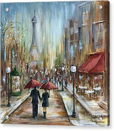 Paris Lovers Ill Acrylic Print by Marilyn Dunlap