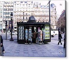 Paris Magazine Kiosk Acrylic Print by Thomas Marchessault