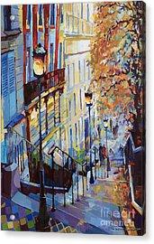 Paris Monmartr Steps Acrylic Print by Yuriy  Shevchuk