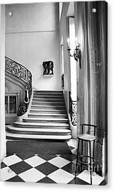 Paris Rodin Museum Black And White Fine Art Architecture - Rodin Museum Entry Staircase Acrylic Print by Kathy Fornal