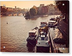Paris Seine River Fall Autumn - Boats Along The Seine River Acrylic Print by Kathy Fornal