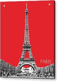 Paris Skyline Eiffel Tower - Red Acrylic Print by DB Artist