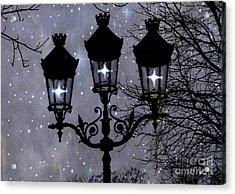 Paris Street Lights Lanterns - Paris Starry Night Dreamy Surreal Starlit Night Street Lamps Of Paris Acrylic Print by Kathy Fornal