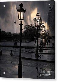 Paris Surreal Louvre Museum Street Lanterns Lamps - Paris Gothic Street Lamps Black Clouds Acrylic Print by Kathy Fornal