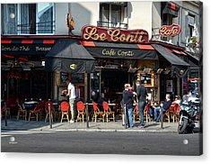 Parisian Cafe Le Conti Acrylic Print by RicardMN Photography