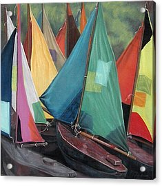 Parisian Sailboats Acrylic Print by Kathleen English-Barrett