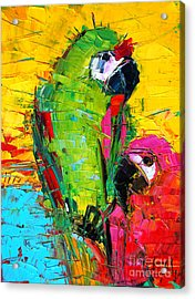 Parrot Lovers Acrylic Print by Mona Edulesco