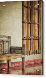 Part Of A Bench Acrylic Print by Joan Carroll