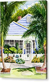 Pass-a-grille Cottage Watercolor Acrylic Print by Michelle Wiarda